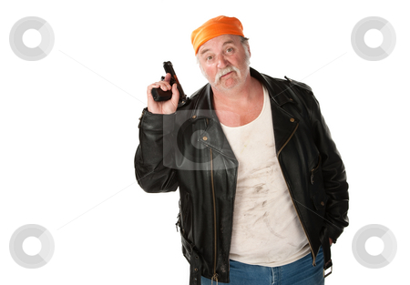Carefree thug stock photo, Carefree thug holding a gun pointed in the air by Scott Griessel