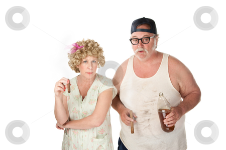 Homely couple  stock photo, Homely couple with cigars and beer on white background by Scott Griessel