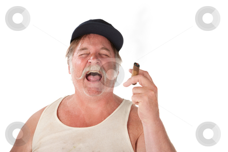 Laughing loudly stock photo, Big man with cigar and hat laughing loudly by Scott Griessel