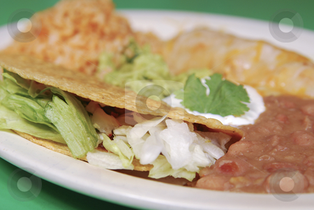 Tacos with refried beans stock photo, Tacos, refried beans and rice on a plate. Shallow DOF. by Christy Thompson