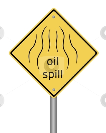 Warning Sign Oil Spil stock photo, Yellow warning sign with the text oil spill by Henrik Lehnerer