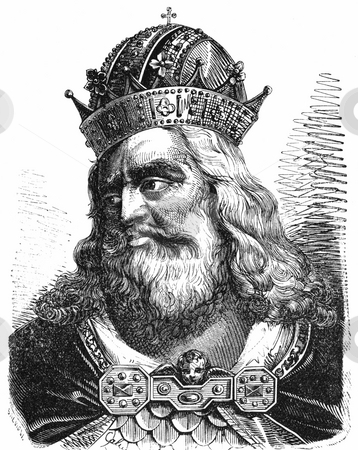 Emperor or King Charlemagne stock photo, Black and white engraved portrait of Emperor of King Charlemagne, Charles the Great. Published in Grande illustrazione del Lombardo-Veneto ossia storia delle citt?, Corona and Caimi, Editors, 1858. Public domain image by virtue of age. by Martin Crowdy