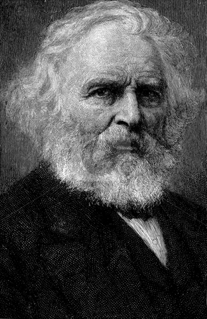 Portrait of Henry Wadsworth Longfellow stock photo, Engraved portrait of  Henry Wadsworth Longfellow (1807  by Martin Crowdy