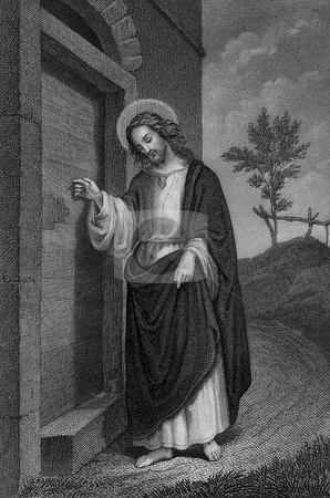 Jesus Christ stock photo, Circa 1900 steel engraving of Jesus Christ by German artist Carl Mayer. Public domain image by virtue of age. by Martin Crowdy