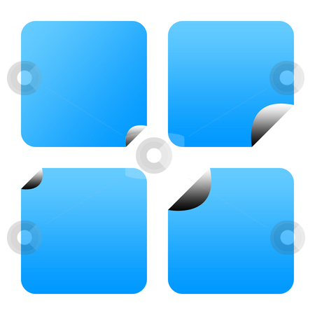 Blue stickers or labels stock photo, Blue sticker or labels with peeled corners, isolated on white background. by Martin Crowdy