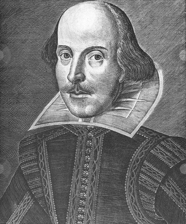 Portrait of William Shakespeare stock photo, Portrait of Playwright William Shakespeare. Engraving by Martin Droeshout, published in the.