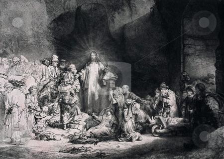 Engraving of Jesus Christ preaching stock photo, Engraving of Jesus Christ preaching to a crowd of people. Engraving by Dutch artist Rembrandt van Rijn entitled,