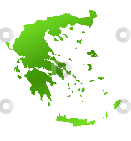 Greece map stock photo, Green Greece or Greek islands map, isolated on white background. by Martin Crowdy