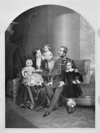 King George V of Hanover stock photo, Engraving of King George V of Hanover, his wife Marie of Saxe-Altenburg and their children Ernest Augustus, Crown Prince of Hanover, Princess Frederica of Hanover and Princess Marie of Hanover. Published by artist Julius giere between 1854-1856, in Druck der Hof-Steindruckerei. Public domain image by virture of age. by Martin Crowdy