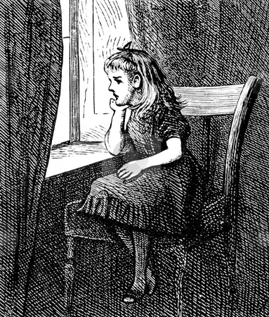 Girl looking out of window stock photo, Sad girl in period clothing looking out of window. Black and white engraving entitled,