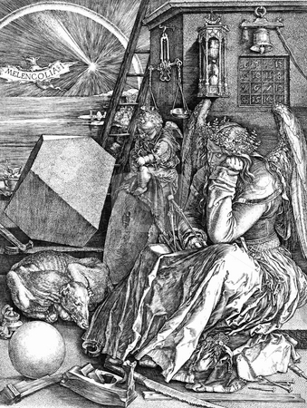 Melencolia I stock photo, Famous engraving knwon as Melancholia I or Melencolia I, by German artist Albrecht Durer. Copy of original artwork from 1514, and public domain image by virtue of age. by Martin Crowdy