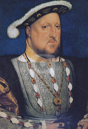 Portrait of King Henry VIII stock photo, Oil on wood portrait of King Henry VIII of England. Painted by artists Hans Holbein the youngrer in 1536 after Anne Boleyn's execution. Public domain image by virtue of age. by Martin Crowdy