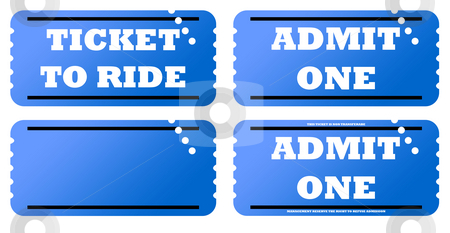 Set of four tickets stock photo, Set of four blue tickets, isolated on white background. by Martin Crowdy