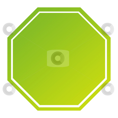 Blank green hexagonal sign stock photo, Blank hexagonal sign in gradient green, isolated on white background. by Martin Crowdy