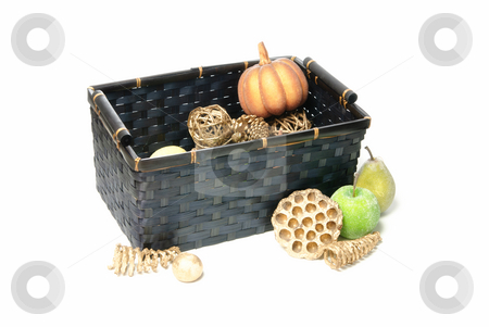 Fake Fruit Basket stock photo, A basket of fake fruit isolated against a white background by Richard Nelson