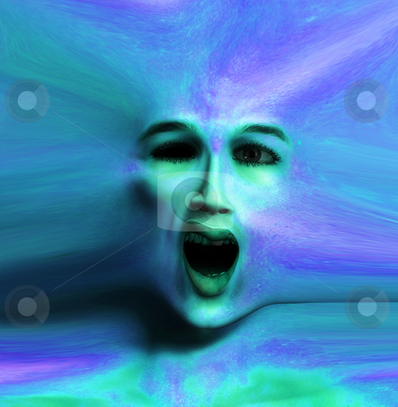 Color Skin Face stock photo, A horrible scary face for Halloween. by Chris Harvey