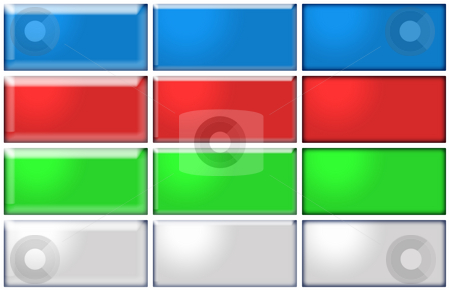 12 Buttons stock photo, 12 Buttons in blue, red, green and grey by Oliver Lenz