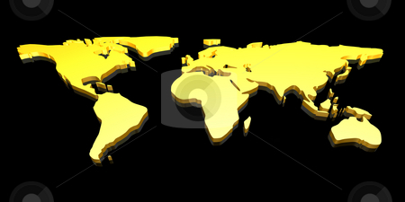 Golden 3d world map stock photo golden 3d world map gumiabroncs Image collections