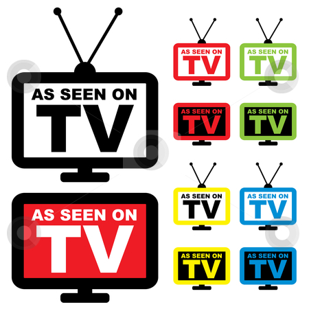 As seen on TV stock vector clipart, Collection of as seen on TV icon with television aerial by Michael Travers