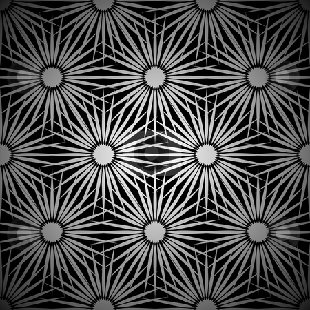 Silver floral explosion background stock vector clipart, Retro seamless seventies wallpaper background pattern in silver by Michael Travers