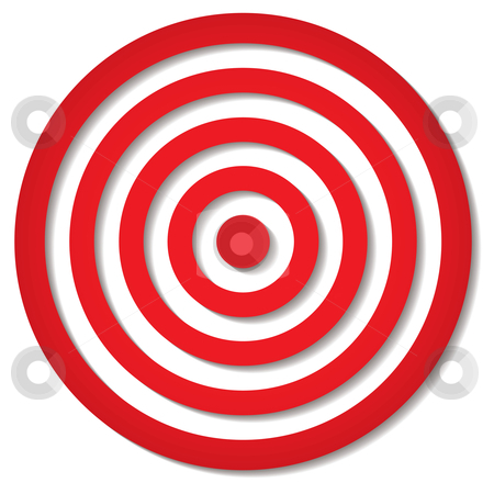 Red target stock vector clipart, Red target icon with drop shadow in circular design by Michael Travers