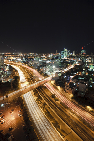 Tel Aviv at Night stock photo, The night Tel Aviv city - View of Tel Aviv at night. by Dmitry Pistrov