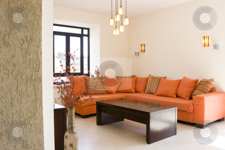 New home stock photo, Modern furniture set living room in cottage / The living room furniture set by Dmitry Pistrov