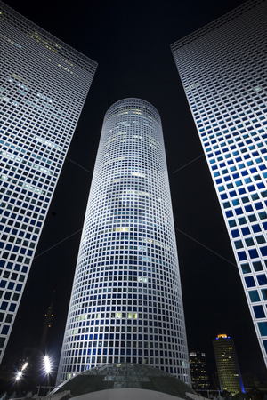 The night cityscape stock photo, The night city, business centre, Modern office building by Dmitry Pistrov