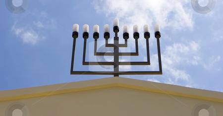 Israel Jewish synagogue in  Mazkeret Batya stock photo, Israel jewish synagogue in  Mazkeret Batya / close-up of menorah by Dmitry Pistrov