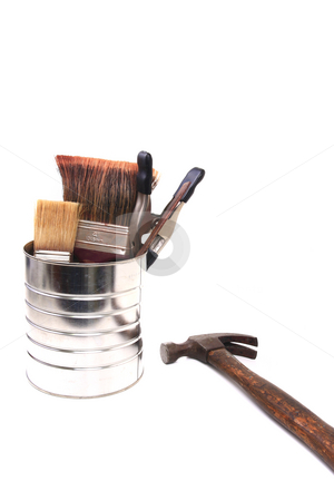 Paint Can stock photo, Paint supplies stored in tin can with hammer isolated by Jack Schiffer