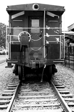 Rear view of a train caboose stock photo, A Rear view of a train caboose by Jim Mills