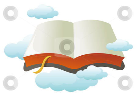 Open book with cloud stock photo, Open book with cloud in a white background by Su Li