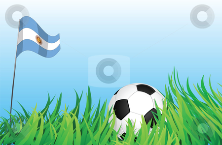 Soccer playground, argentina stock vector clipart, An illustrations of soccer ball, with argentina flag waving at the background. by Mtkang