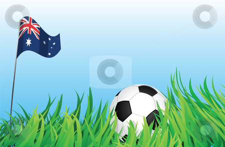 Soccer playground, australia stock vector clipart, An illustrations of soccer ball, with australia flag waving at the background. by Mtkang