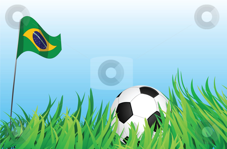 Soccer playground, brazil stock vector clipart, An illustrations of soccer ball, with a brazil flag waving at the background. by Mtkang