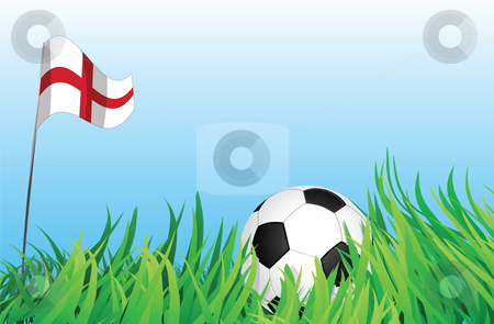 Soccer playground, england stock vector clipart, An illustrations of soccer ball, with england flag waving at the background. by Mtkang