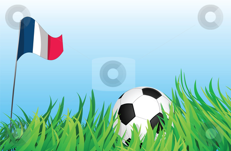 Soccer playground, france stock vector clipart, An illustrations of soccer ball, with a france flag waving at the background. by Mtkang