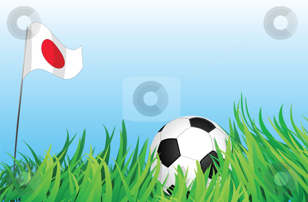 Soccer playground, japan stock vector clipart, An illustrations of soccer ball, with a japan flag waving at the background. by Mtkang