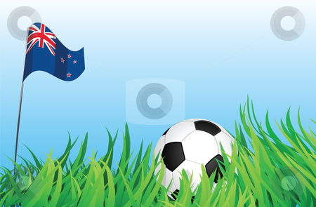 Soccer playground, new zealand stock vector clipart, An illustrations of soccer ball, with a new zealand flag waving at the background. by Mtkang