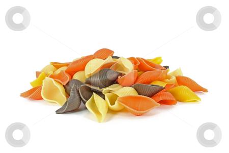 Colored pasta stock photo, Raw colored pasta isolated on white background by Borislav Marinic