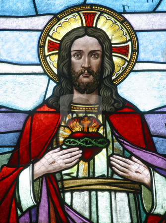Sacred Heart of Jesus stock photo, Stained glass Sacred Heart of Jesus by Zvonimir Atletic