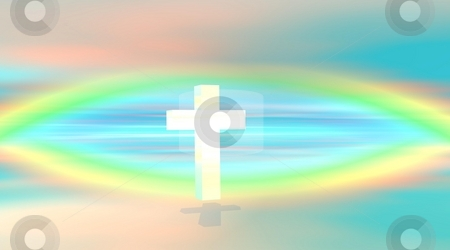White cross stock photo, White cross floating in a colored sky with rainbow by Elenarts