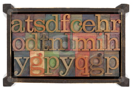 Alphabet in rusti wooden box stock photo, Letters of alphabet (random selection) 0 vintage letterpress type blocks in rustic wooden box, isolated on white by Marek Uliasz