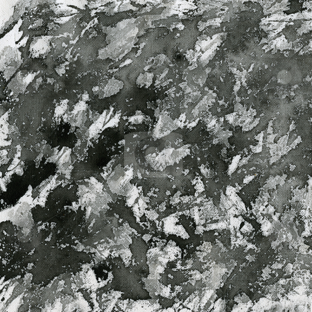 Black paint splashes on canvas stock photo, Abstract background - splashes of black watercolor paint on white artist canvas by Marek Uliasz