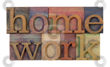 Homework stock photo, The word homeowork in vintage wooden letterpress type blocks, stained by color ink, isolated on white by Marek Uliasz
