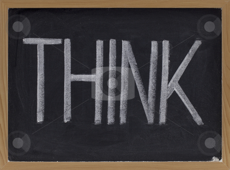 Think stock photo, The word think - big letters in white chalk on blackboard by Marek Uliasz