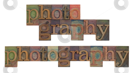 Photography in vintage leeterpress  stock photo, The word of photography in vintage wooden lettepress type blocks, stained by color ink, isolated on white , two layouts by Marek Uliasz