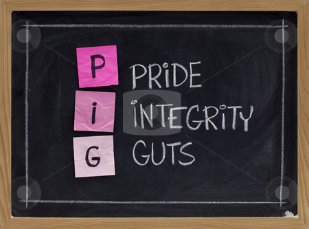 Pride, integrity and guts stock photo, PIG - pride, integrity and guts - acronym created by police in the US as a positive interpretation of the common derogatory reference, sticky notes on blackboard by Marek Uliasz
