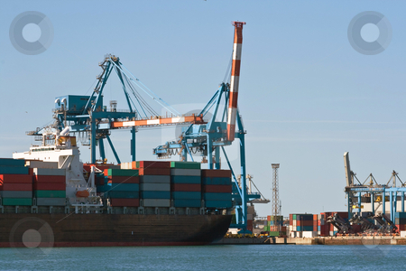 Container ship in harbor stock photo, Detail of container ship in Genova harbor by ANTONIO SCARPI