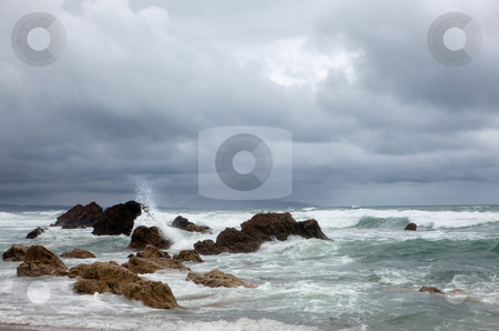 Waves and foam stock photo, Splashing waves on the Atlantic beach near Biarritz, Aquitaine in France by Anneke